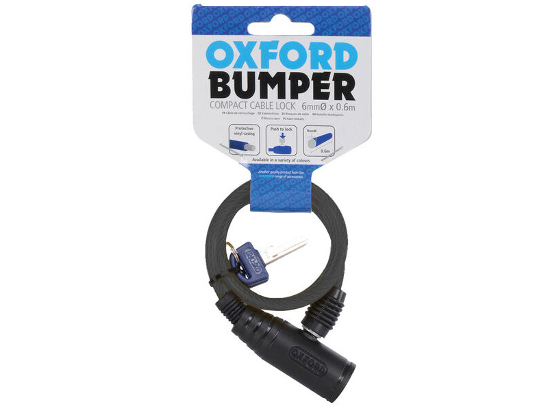 Oxford Bumper cable lock Smoke 6mm x 600mm click to zoom image